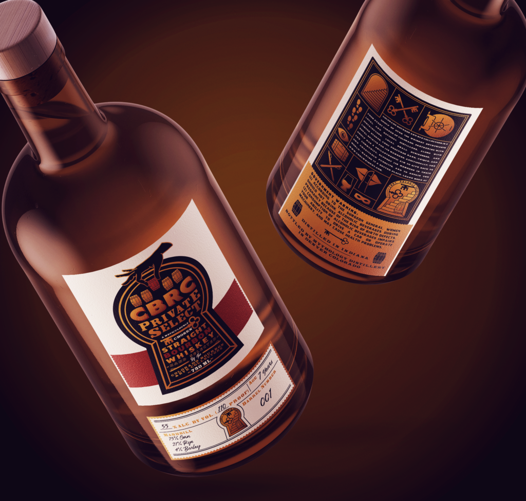 CBRC Private Select Whiskey Labels Mockup